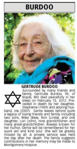 my mom's obituary