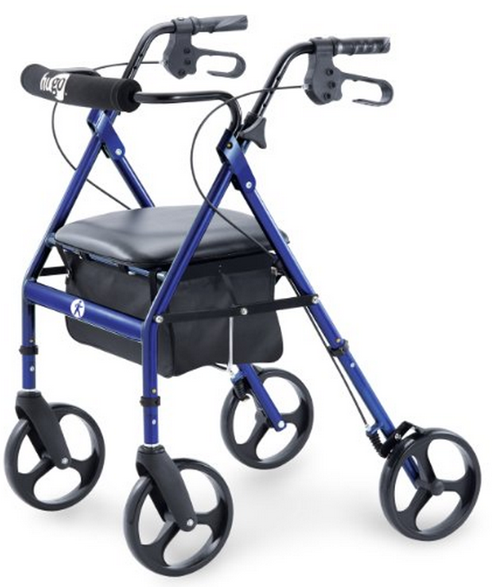 hugo elite rolling walker with seat backrest and saddle bag good