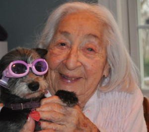 94 year old woman with dog