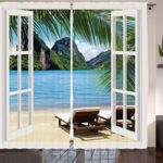 Two Panel Tropical Curtains Or Rugs For The Living Room Or Bedroom